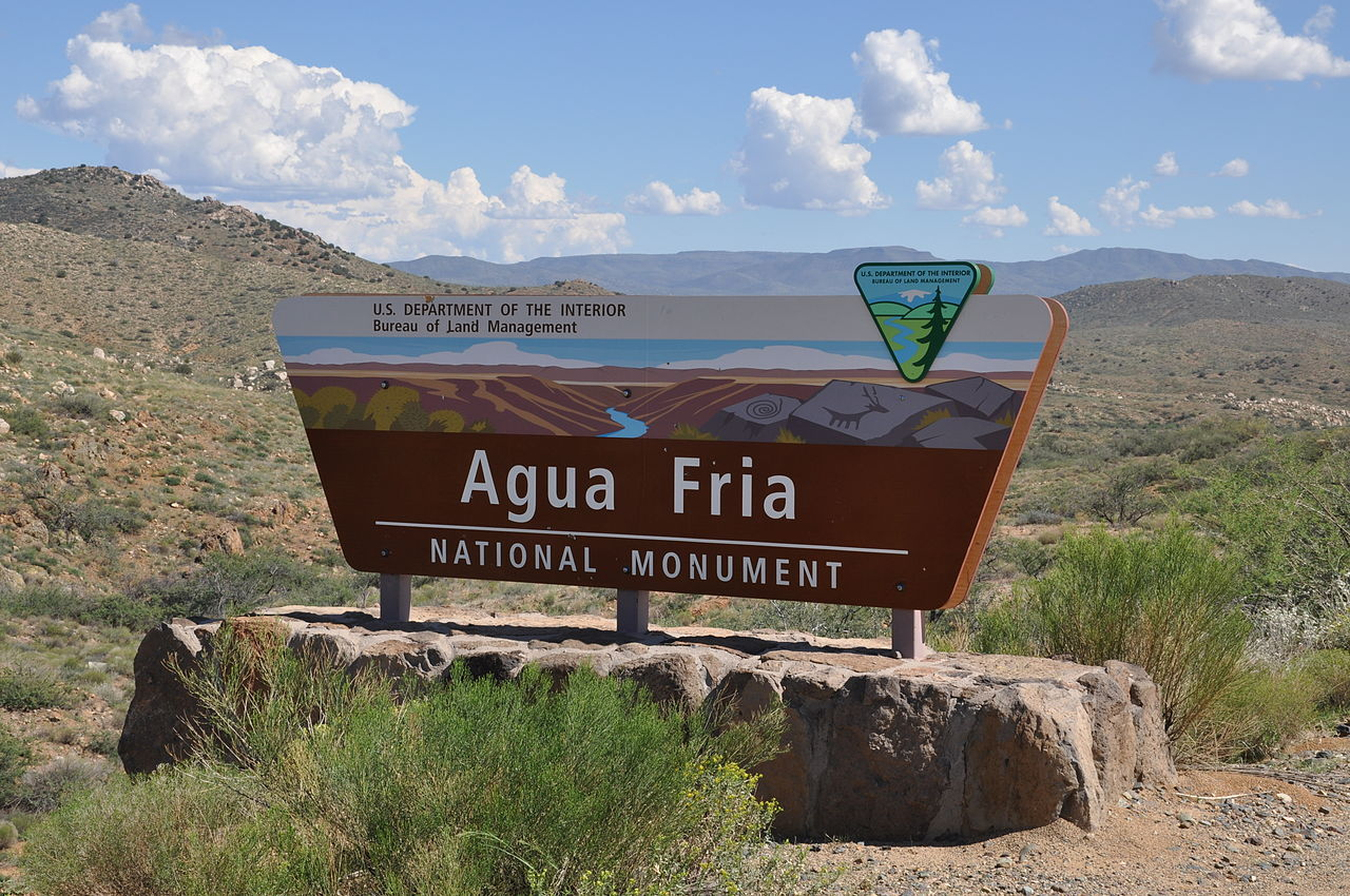 Entrance sign for the BLM's Agua Fria National Monument
