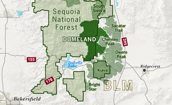 Map of the Domeland Wilderness, with respect to Sequoia National Forest and BLM land