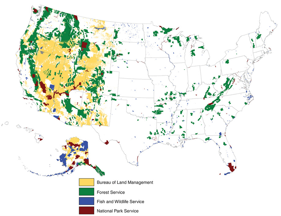 Map of U.S. federal lands