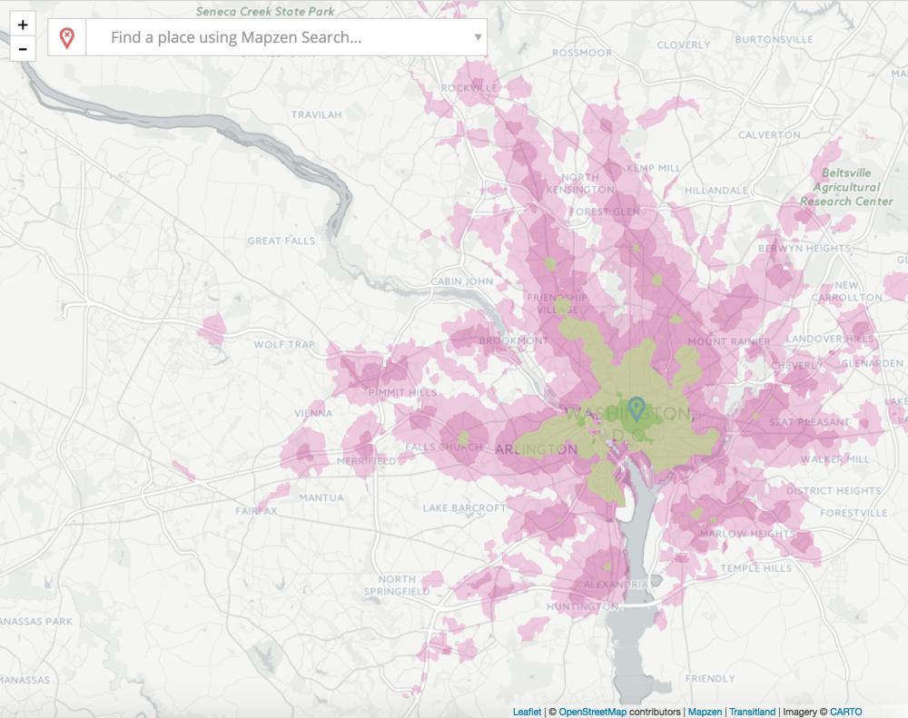 An isochrone map showing how far you can get from downtown DC by transit in a given amount of time, generated by Mobility Explorer