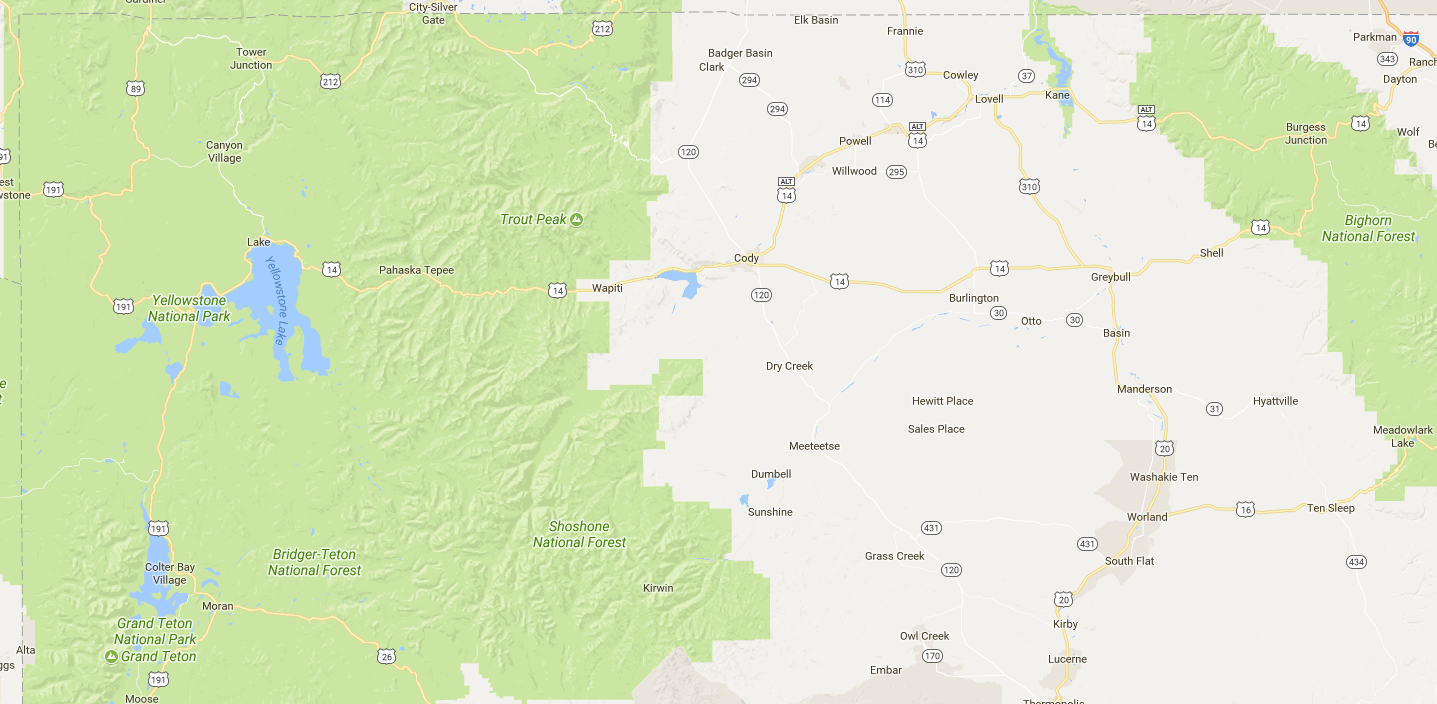 Google Maps's depiction of Northwest Wyoming, with National Parks and Forests in green but BLM land not shown